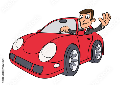 Staande foto Cartoon cars Businessman driving car 3