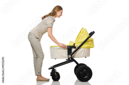 Woman with baby and pram isolated on white Poster