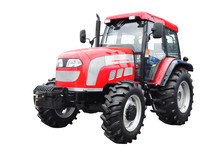 New Red Agricultural Tractor Isolated Over White Background. Wit