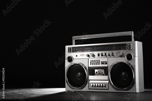 Fototapeta Retro ghetto music blaster isolated on black with clipping path obraz