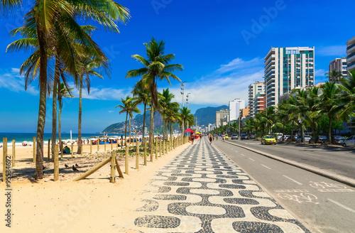 Poster Brésil Ipanema beach with mosaic of sidewalk in Rio de Janeiro. Brazil