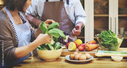 Photo  Family Cooking Kitchen Preparation Dinner Concept
