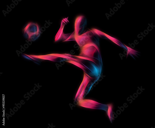 Foto op Canvas Gymnastiek Soccer player kicks the ball. The colorful illustration on black background.