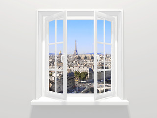 Opened window and view on Eiffel tower, Paris