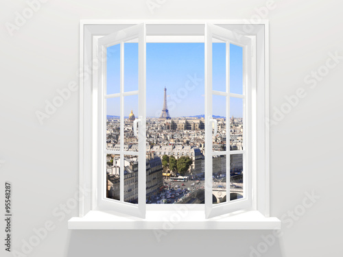 Opened window and view on Eiffel tower, Paris Fototapeta
