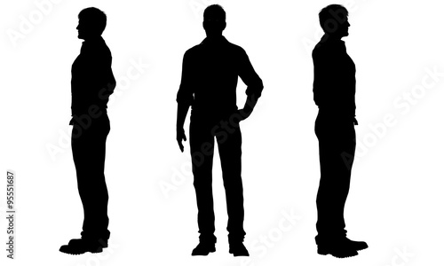 silhouettes of a men Canvas Print