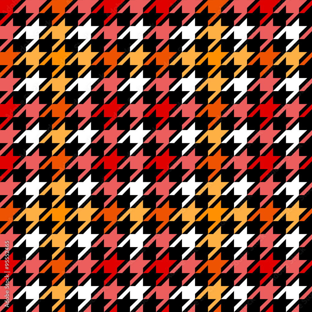 Photo  Houndstooth checkered seamless pattern in red yellow black and white, vector