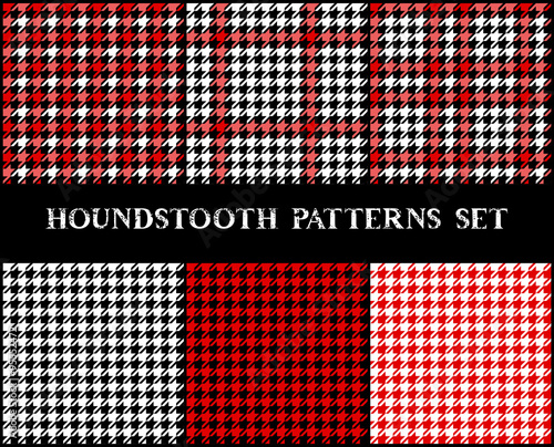 Houndstooth checkered seamless patterns set in red black and white, vector Wallpaper Mural