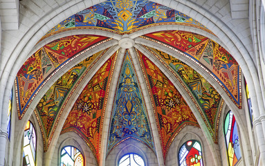 MADRID - MARCH 10: Modern frescos from Santa Maria la Real de La Almudena cathedral  by Kiko Arguello in March 10, 2013 in Spain.