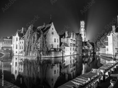 Wall Murals Bridges Bruges at night