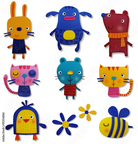 Garden Poster Creatures Set of pets. Moosgummi
