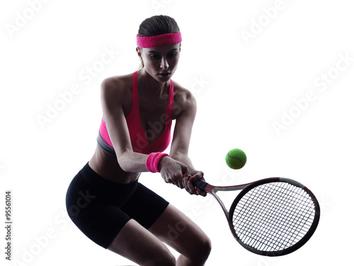 woman tennis player portrait silhouette Poster