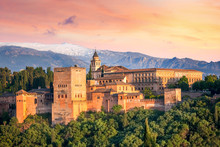 Ancient Arabic Fortress Alhambra At The Beautiful Evening