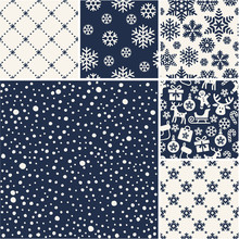 Set Of Christmas Seamless Snow Patterns