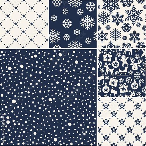 Stoffe zum Nähen Satz von Weihnachten Schnee nahtlose Muster