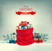 Holiday Christmas Background With A Sack Full Of Gift Boxes. Vec