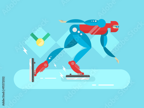Ice speed skater cartoon character Poster