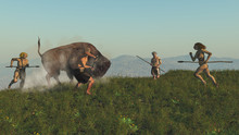 Group Of Neanderthal Hunting A...