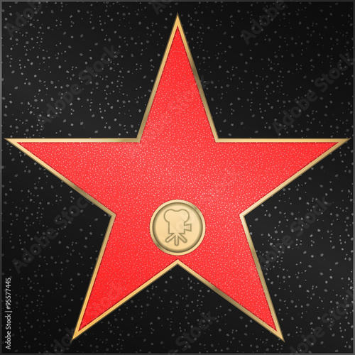 Poster  Hollywood Walk of Fame - Classic film camera representing motion picture
