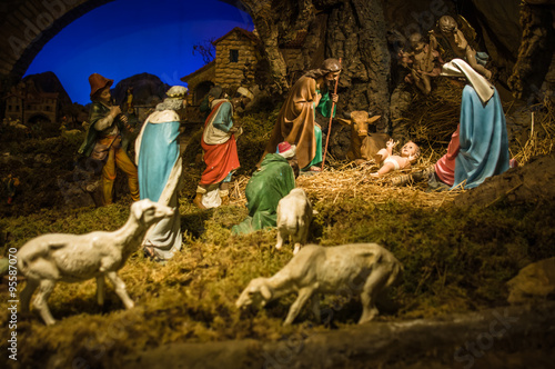 christmas manger scene with figurines including jesus mary jos