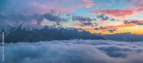 Sunset over cloudy walley at Caucasus mountains #95588044