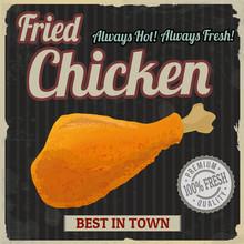 Fried Chicken Retro Poster
