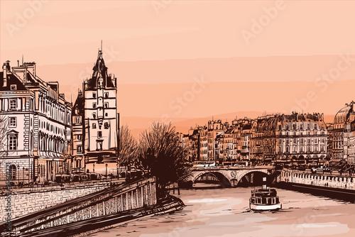 Acrylic Prints Art Studio ile de la cite - illustration