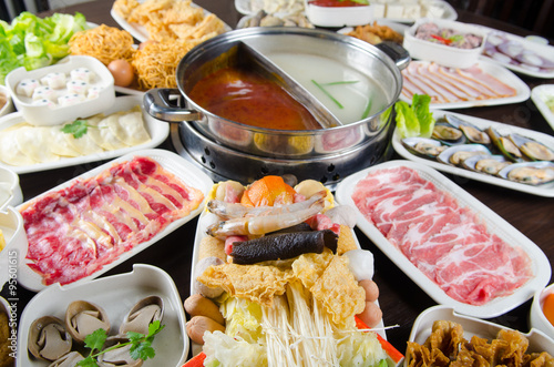 Fotografie, Obraz  hot pot soup with wide variety of ingredients