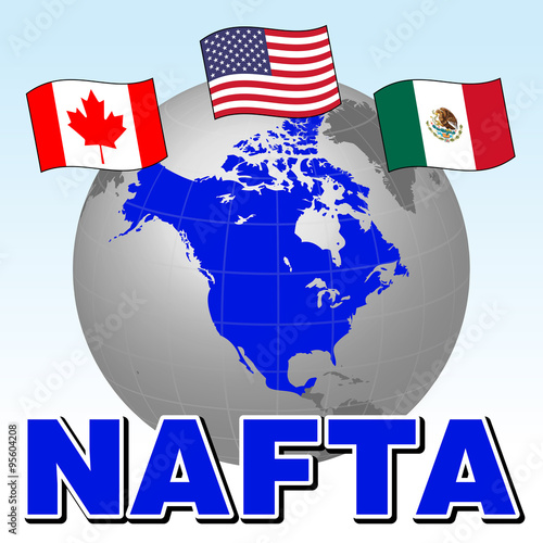 Nafta North American Free Trade Agreement And National Flags Of