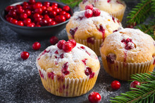 Cranberry Muffins With Powdered Sugar