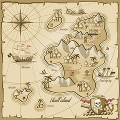 Fototapeta Żagle Treasure island vector map in hand drawn style