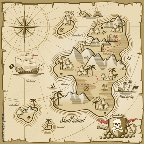 Treasure island vector map in hand drawn style - 95611267