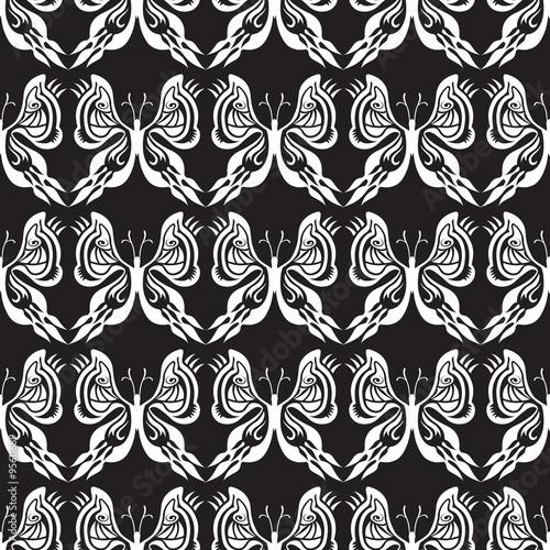 Fond Motif Papillon Composition En Noir Et Blanc Illusion