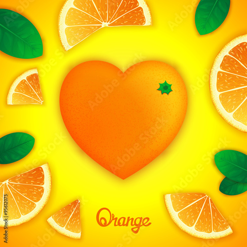 Photorealistic surround orange in the form of heart with slices around Canvas Print