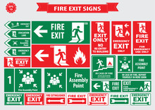 Set Of Emergency Exit Sign (fire Exit, Emergency Exit, Fire Assembly Point, Evacuation Lane, Fire Extinguisher, For Emergency Use Only, No Re-entry To Building).