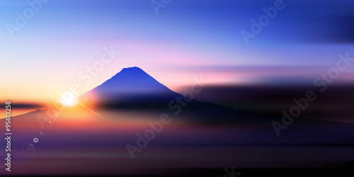 Leinwand Poster 富士山 日の出 風景 背景