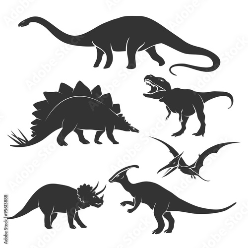 Dinosaur silhouettes Poster