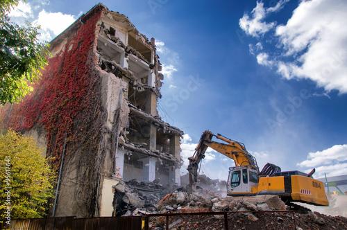 Obraz na plátně Demolition of buildings in urban
