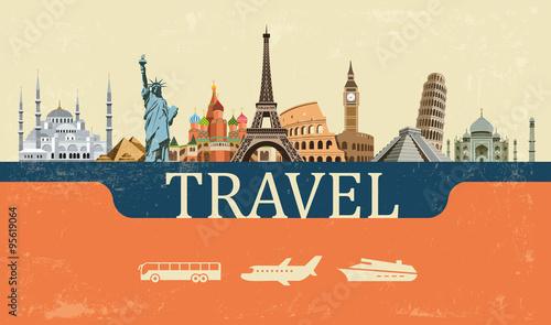 Leinwand Poster Design Concept of Travel World Landmarks, Vector Illustration