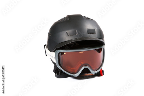 Black ski and snowboard helmet and glasses