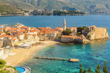 The Old Town Of Budva In Montenegro, View From The Above The Top