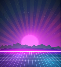 1980 Neon Poster Retro Disco 80s Background Made In Tron Style W