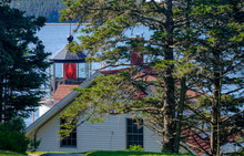 The Beautiful Red Lit Fresnel Lens Of The Bass Harbor Lighthouse