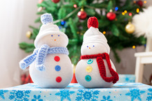 Two Handmade Snowmen With Chri...