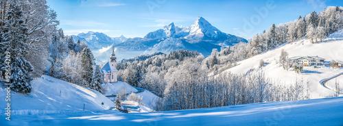 Canvas Prints Blue sky Idyllic winter landscape with chapel in the Alps, Berchtesgadener Land, Bavaria, Germany
