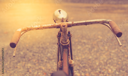 Deurstickers Fiets old bicycle with vintage filter