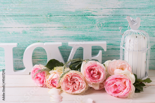 Tablou Canvas Background  with sweet pink roses flowers,  word love and candle
