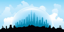 An Illustration Of The Skyline Of A City Sealed In A Dome To Protect It From The Weather Elements.