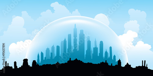 Cuadros en Lienzo An illustration of the skyline of a city sealed in a dome to protect it from the weather elements