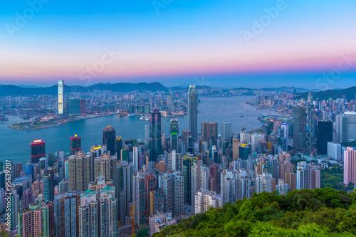 Foto op Canvas Seoel Hong Kong city view from peak at twilight